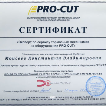 сертификат pro-cut специалист проточки дисков Моисеев